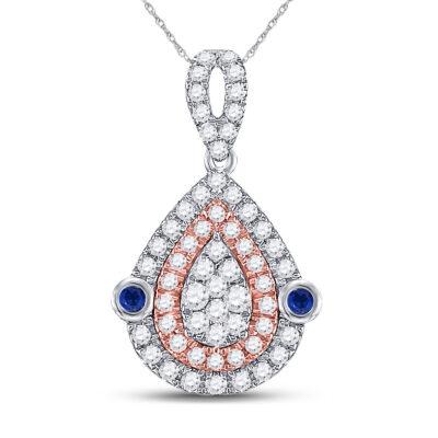 10kt Two-tone Gold Womens Round Diamond Teardrop Pendant 1/2 Cttw