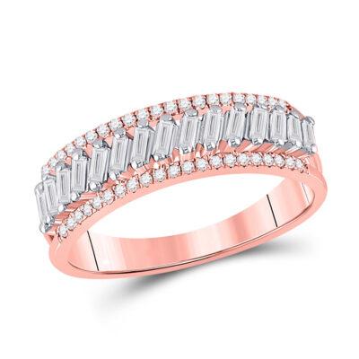 14kt Rose Gold Womens Baguette Diamond Modern Anniversary Ring 1/2 Cttw