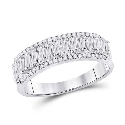 14kt White Gold Womens Baguette Diamond Anniversary Band Ring 1/2 Cttw