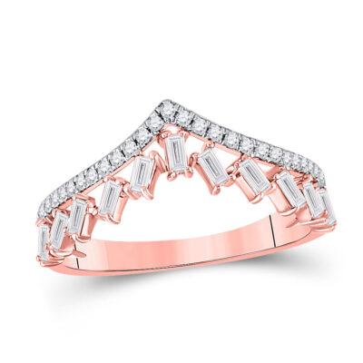 14kt Rose Gold Womens Baguette Diamond Chevron Band Ring 3/8 Cttw