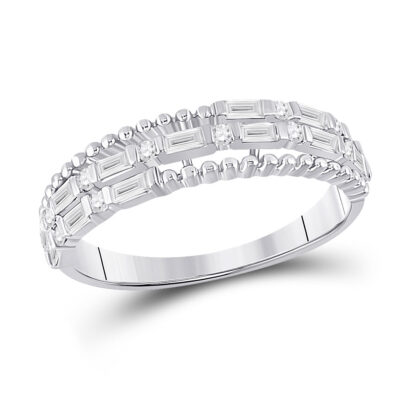 14kt White Gold Womens Baguette Diamond Fashion Band Ring 3/8 Cttw
