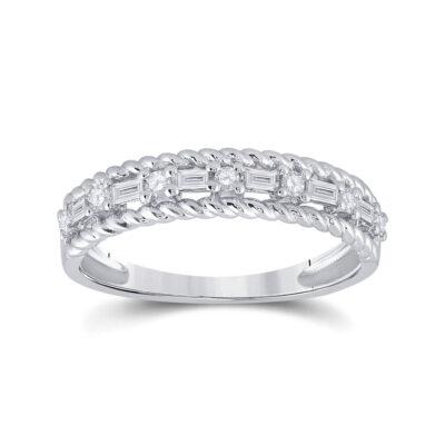 14kt White Gold Womens Baguette Diamond Anniversary Band Ring 1/3 Cttw