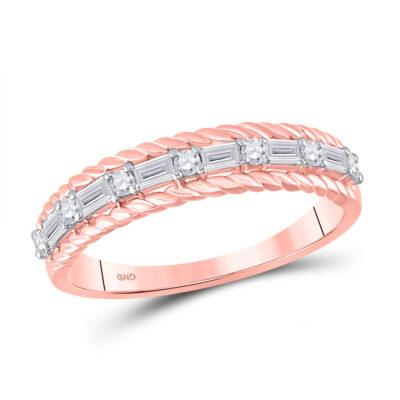 14kt Rose Gold Womens Baguette Diamond Anniversary Band Ring 1/3 Cttw