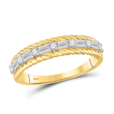 14kt Yellow Gold Womens Baguette Diamond Anniversary Band Ring 1/3 Cttw