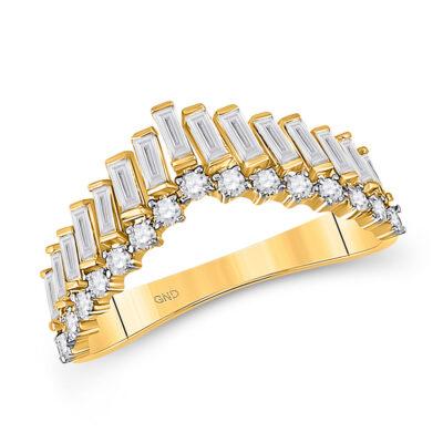 14kt Yellow Gold Womens Baguette Diamond Chevron Band Ring 5/8 Cttw