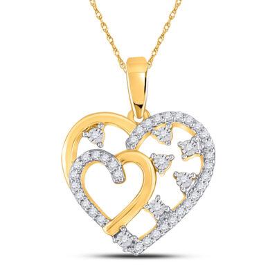 14kt Yellow Gold Womens Round Diamond Heart Pendant 1/6 Cttw