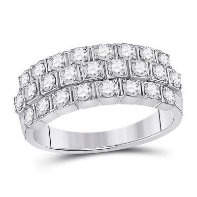 14kt White Gold Womens Round Diamond 3-Row Anniversary Ring 1 Cttw
