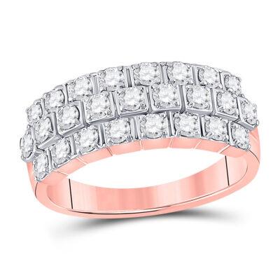 14kt Rose Gold Womens Round Diamond 3-Row Anniversary Ring 1 Cttw