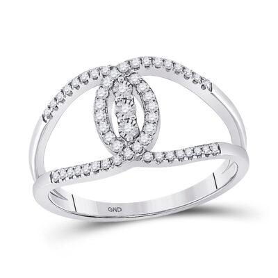 14kt White Gold Womens Round Diamond Fashion 3-stone Ring 1/5 Cttw