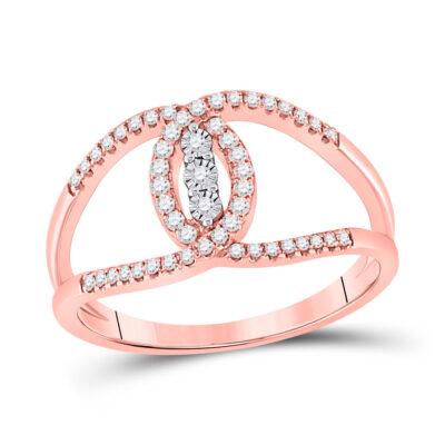 14kt Rose Gold Womens Round Diamond Fashion 3-stone Ring 1/5 Cttw