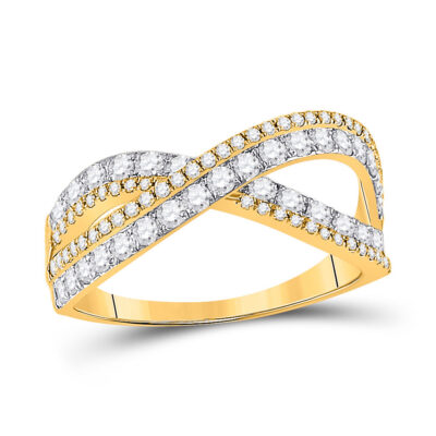 14kt Yellow Gold Womens Round Diamond Fashion Crossover Band Ring 3/4 Cttw