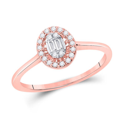 14kt Rose Gold Womens Round Diamond Fashion Cluster Oval Ring 1/6 Cttw