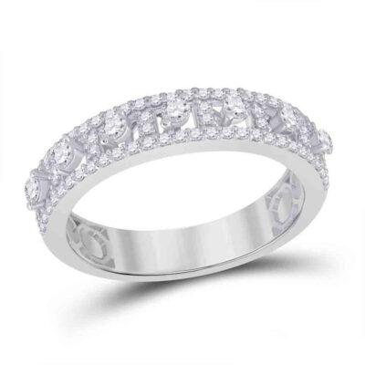14kt White Gold Womens Round Diamond Anniversary Band Ring 5/8 Cttw