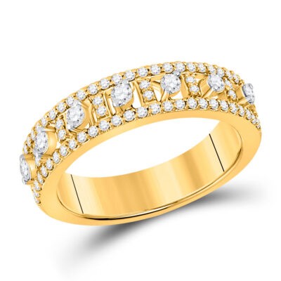 14kt Yellow Gold Womens Round Diamond Anniversary Band Ring 5/8 Cttw
