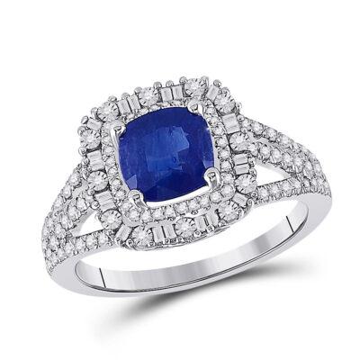 14kt White Gold Womens Cushion Blue Sapphire Diamond Halo Ring 2 Cttw