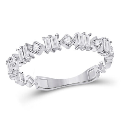 14kt White Gold Womens Baguette Diamond Modern Band Ring 1/3 Cttw