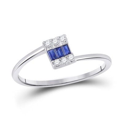 14kt White Gold Womens Baguette Blue Sapphire Fashion Ring 1/4 Cttw