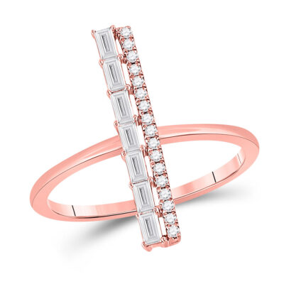 14kt Rose Gold Womens Baguette Diamond Linear Fashion Ring 1/3 Cttw