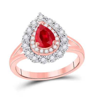 14kt Rose Gold Womens Pear Ruby Teardrop Diamond Halo Ring 1-1/4 Cttw