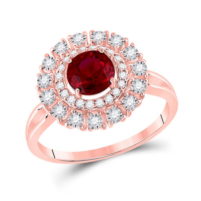 14kt Rose Gold Womens Round Ruby Halo Bridal Wedding Engagement Ring 1-1/3 Cttw