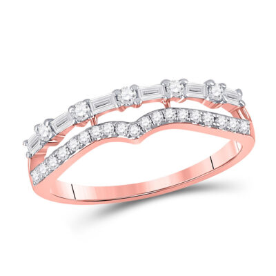 14kt Rose Gold Womens Baguette Diamond Fashion Stackable Band Ring 1/3 Cttw