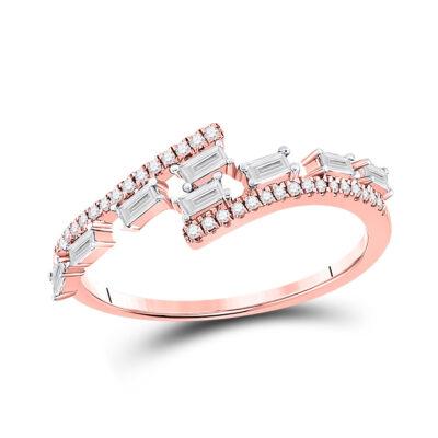 14kt Rose Gold Womens Baguette Diamond Bypass Band Ring 1/3 Cttw