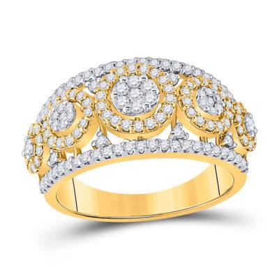 14kt White Gold Womens Round Diamond Cluster Anniversary Ring 1 Cttw
