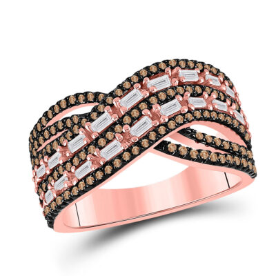14kt Rose Gold Womens Round Brown Diamond Fashion Crossover Band Ring 3/4 Cttw