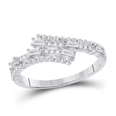 14kt White Gold Womens Baguette Diamond Bypass Band Ring 1/5 Cttw