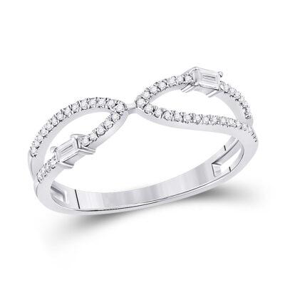14kt White Gold Womens Baguette Diamond Fashion Ring 1/6 Cttw