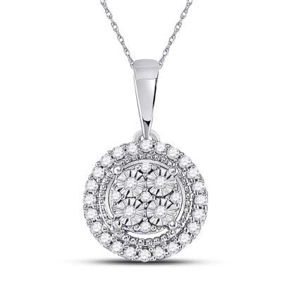 10kt White Gold Womens Round Diamond Fashion Halo Cluster Pendant 1/10 Cttw