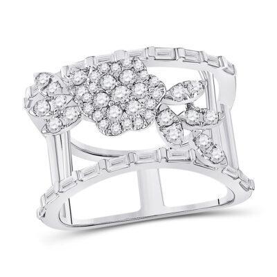 14kt White Gold Womens Baguette Diamond Flower Anniversary Ring 1 Cttw
