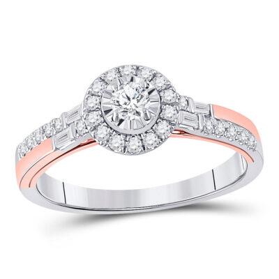 10kt Two-tone Gold Round Diamond Halo Bridal Wedding Engagement Ring 1/2 Cttw
