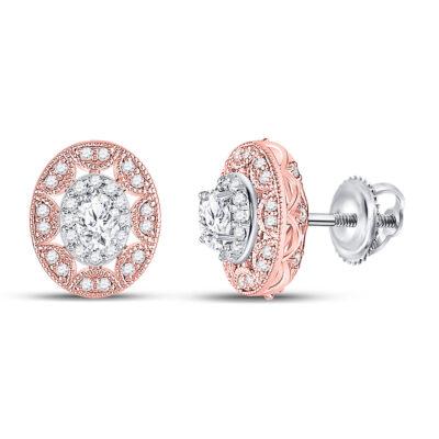 14kt Two-tone Gold Womens Oval Diamond Halo Earrings 1/2 Cttw