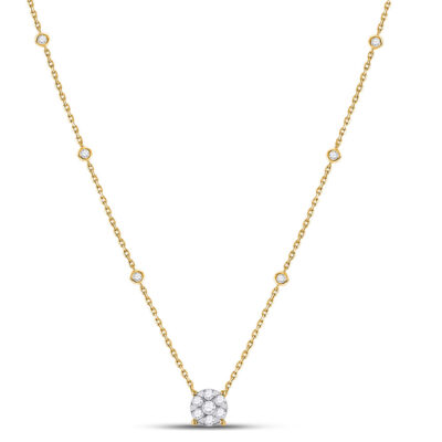 14kt Yellow Gold Womens Round Diamond Fashion Cluster Necklace 5/8 Cttw
