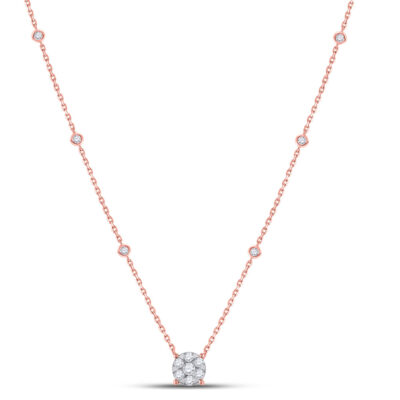 14kt Rose Gold Womens Round Diamond Flower Cluster Necklace 5/8 Cttw