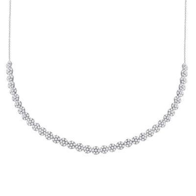 14kt White Gold Womens Round Diamond Flower Cluster Necklace 4-1/2 Cttw
