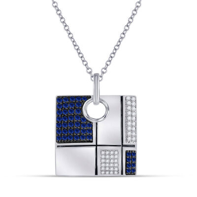 14kt White Gold Womens Round Blue Sapphire Fashion Square Necklace 3/4 Cttw