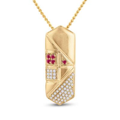14kt Yellow Gold Womens Round Pink Sapphire Diamond Fashion Pendant 1/5 Cttw