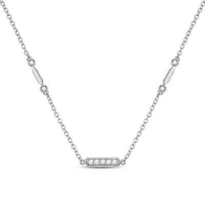 14kt White Gold Womens Round Diamond Fashion Bar Necklace 1/4 Cttw
