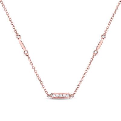 14kt Rose Gold Womens Round Diamond Fashion Bar Necklace 1/4 Cttw