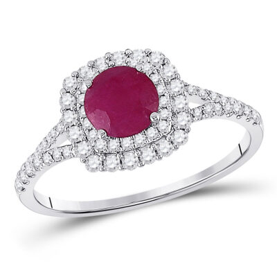 14kt White Gold Womens Round Ruby Solitaire Bridal Wedding Engagement Ring 1-3/8 Cttw