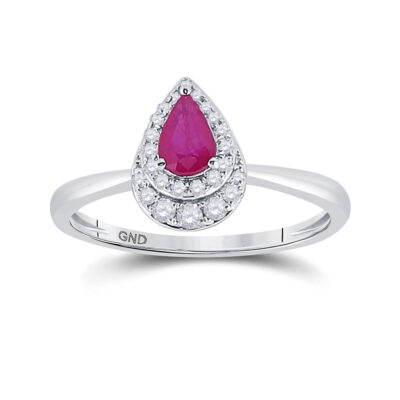 14kt White Gold Womens Pear Ruby Diamond Teardrop Halo Solitaire Ring 3/4 Cttw
