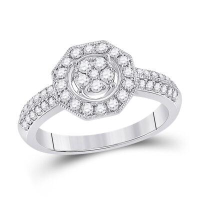 14kt White Gold Womens Round Diamond Fashion Flower Cluster Ring 1/2 Cttw
