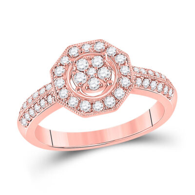 14kt Rose Gold Womens Round Diamond Fashion Flower Cluster Ring 1/2 Cttw