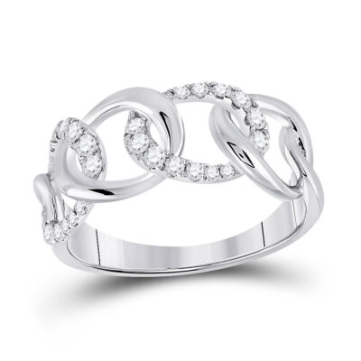 14kt White Gold Womens Round Diamond Curb Link Fashion Ring 1/3 Cttw