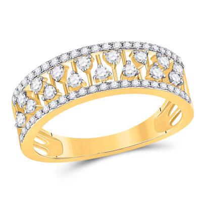 14kt Yellow Gold Womens Round Diamond Fashion Anniversary Ring 3/8 Cttw