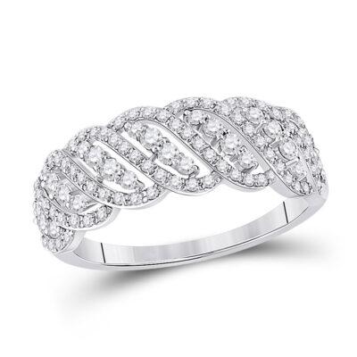 14kt White Gold Womens Round Diamond Timeless Anniversary Ring 5/8 Cttw