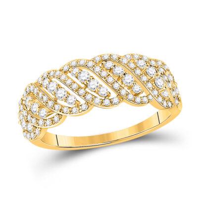 14kt Yellow Gold Womens Round Diamond Anniversary Ring 5/8 Cttw