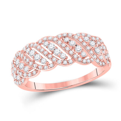14kt Rose Gold Womens Round Diamond Timeless Anniversary Ring 5/8 Cttw